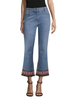 Cropped Embroidered High-Rise Flared Jeans in Blue
