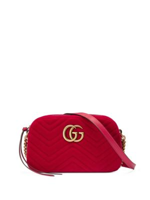 Small Gg Marmont 2.0 Matelasse Velvet Shoulder Bag - Red