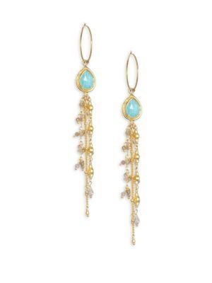 CHAN LUU Amazonite, Mystic Labradorite & Sterling Silver Drop Hoop Earrings