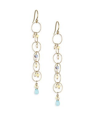"Image of 18k gold-plated and sterling silver drop earrings with mixed stones of amazonite, opal and larimar 18K gold plating Sterling silver Amazonite Opal Larimar Mother-of-pearl Drop, about 2.5"" Hook closure Imported. Fashion Jewelry - Semi Prec Coll C. Chan Luu"
