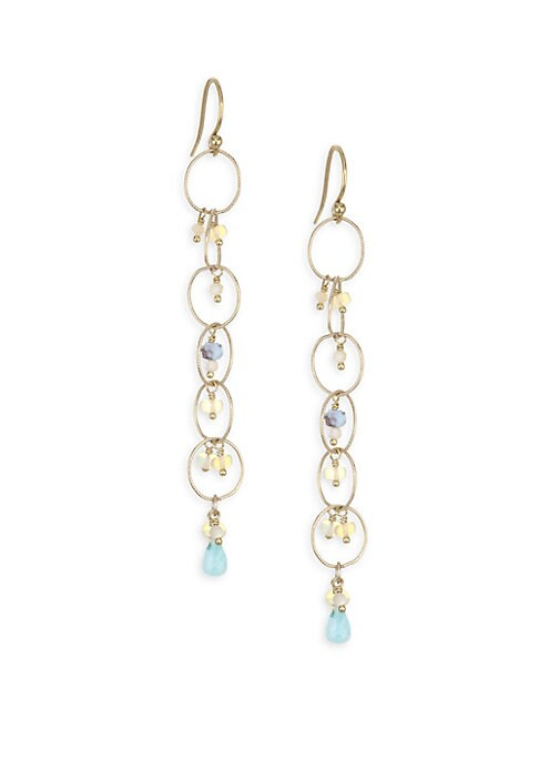"Image of 18k gold-plated and sterling silver drop earrings with mixed stones of amazonite, opal and larimar.18K gold plating. Sterling silver. Amazonite. Opal. Larimar. Mother-of-pearl. Drop, about 2.5"".Hook closure. Imported."