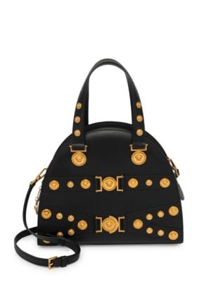 Tribute Medallion Leather Satchel by Versace