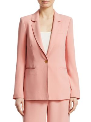 Carson Single-Breasted Crepe Blazer, Dahlia