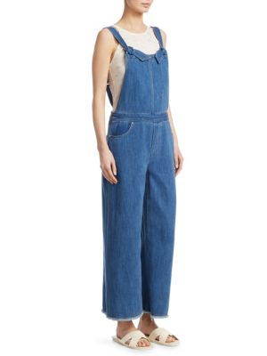 Jennette Square-Neck Knot-Strap Wide-Leg Denim Jumpsuit, Medium Denim