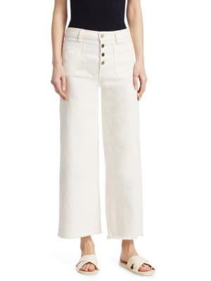Carmine Button-Fly Wide-Leg Jeans With Raw-Edge Hem, Muslin