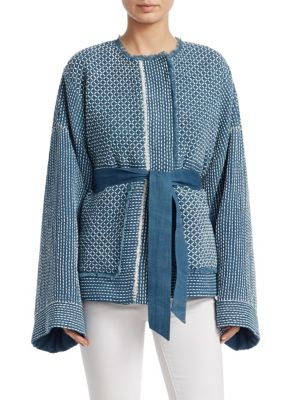 Hayden Wide-Sleeve Belted Hand-Quilted Jacket, Light Denim
