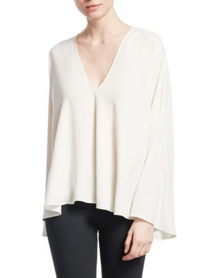 Ellis V-Neck Long Sleeve Top in White