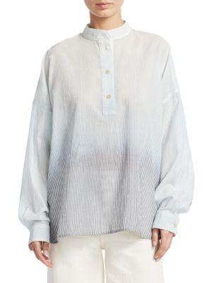 Flint Mandarin-Collar Long-Sleeve Ombre-Striped Shirt, Ombre Indigo Stripe