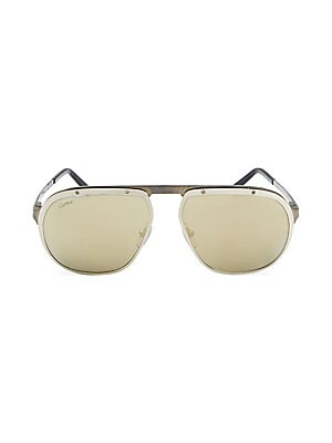 Image of Aviator sunglasses in dark ruthenium finish 140mm lens width; 60mm bridge width; 16mm temple length 100% UV protection Tinted lenses Metal Made in France. Men Accessories - Men Sunglasses. Cartier. Color: Gold.