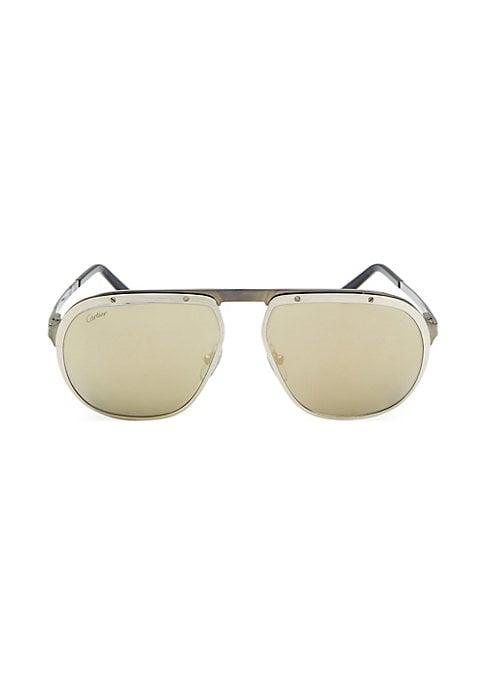 Image of Aviator sunglasses in dark ruthenium finish. 140mm lens width; 60mm bridge width; 16mm temple length. 100% UV protection. Tinted lenses. Metal. Made in France.