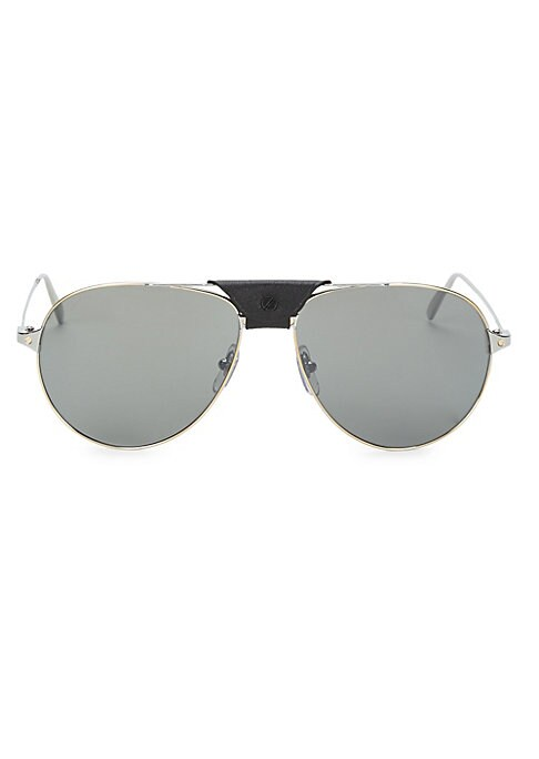 Image of Aviator sunglasses in smooth dark ruthenium finish.140mm lens width.59mm bridge width.16mm temple length.100% UV protection. Tinted lenses. Adjustable nose pads. Metal/nylon. Made in France.