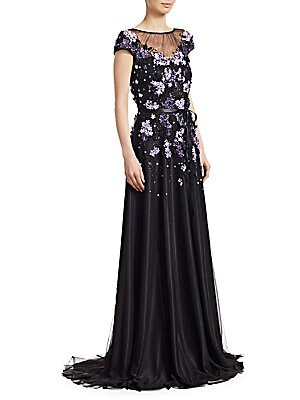 Theia Embellished Cap Sleeve Gown