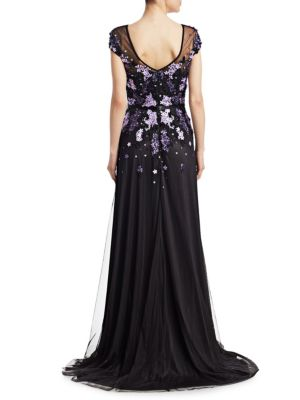 THEIA Gowns Embellished Cap-Sleeve Gown