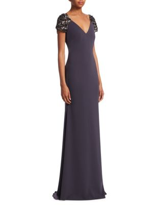 Collection Beaded Cap Sleeve Gown in Charcoal