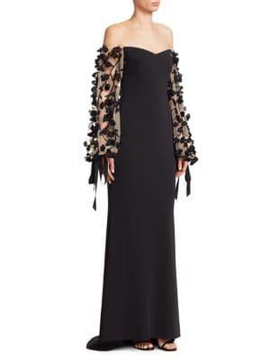 BADGLEY MISCHKA Embellished Off-The-Shoulder Gown in Black