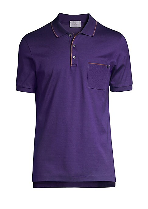 Image of Italian cotton polo shirt with contrast piping. Polo collar. Short sleeves. Three-button placket. Cotton. Machine wash. Made in Italy.