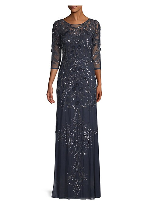 """Image of Allover sequin embellishments and an illusion neckline enhance this stunning gown. Scoopneck. Three-quarter sleeves. Concealed back zip closure.U-back. About 51"""" from shoulder to hem. Polyester. Spot clean. Imported. Model shown is 5'10"""" (177cm) wearing a"""