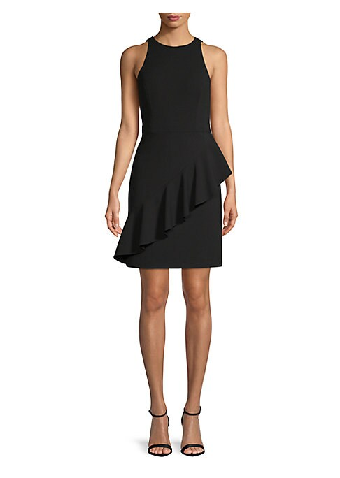 """Image of A back cutout with wraparound ruffle enhance an athletic silhouette. Roundneck. Sleeveless. Concealed back zip closure. About 20"""" from shoulder to hem. Polyester/spandex. Dry clean. Imported. Model shown is 5'10"""" (177cm) wearing a size 4."""
