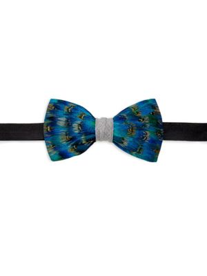 BRACKISH Codell Feather Bow Tie in Blue