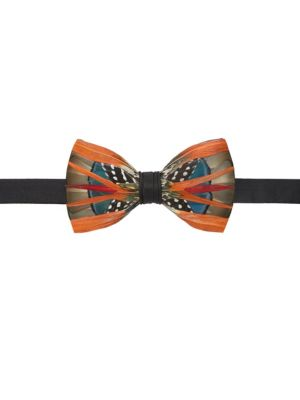 BRACKISH Mayfly Feather Bow Tie in Orange