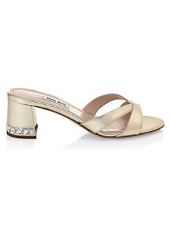 88a0d17692 Miu Miu Metallic Crystal Block Heel Sandals