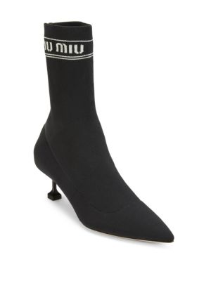Tech Knit Pointed-Toe Sock Booties, Black