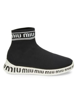 Logo-Embossed Stretch-Knit High-Top Sneakers, Black