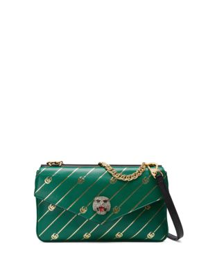 Thiara Colorblock Leather Shoulder Bag - Black in Green