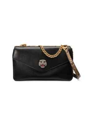 Thiara Python Double Envelope Shoulder Bag in Black
