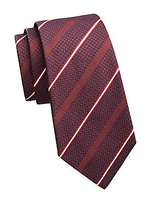 """Image of Polished diagonal stripe tie with a tonal houndstooth background Width, about 3.5"""" Silk/wool Dry clean Made in Italy. Men Luxury Coll - Armani Neckwear. Emporio Armani. Color: Brick Red."""