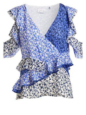 Tanya Taylor Ditsy Floral Silk Top