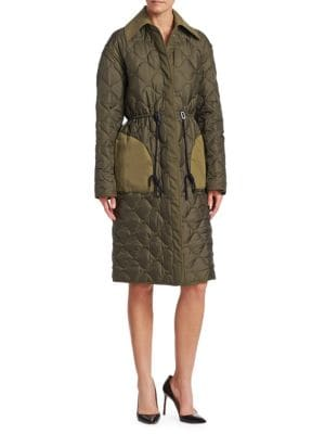Creedence Reversible Cotton Twill-Trimmed Quilted Shell Coat in Green