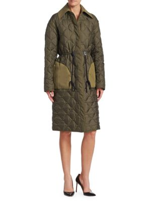 Creedence Reversible Cotton Twill-Trimmed Quilted Shell Coat in Army Green
