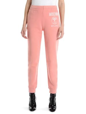 Printed Cotton-Jersey Track Pants in Coral