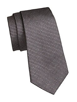 3b9f083071d3 Emporio Armani. Anthracite Horizonal Stripe Silk Tie
