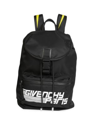 GIVENCHY Logo Graphic Backpack, Black Yellow