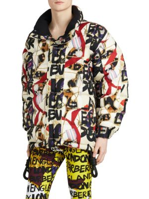 Down-Filled Graffiti And Archive-Print Jacket, Stone