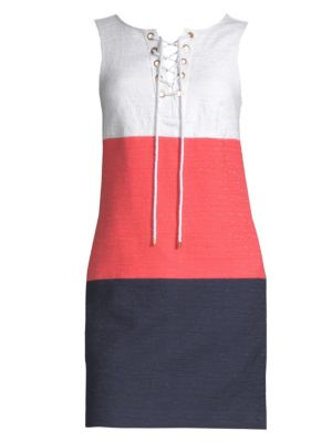 TRINA TURK Miss Brady 2 Colorblock Lace-Up Dress in Orange Crush
