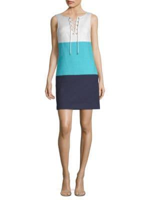 Miss Brady 2 Colorblock Lace-Up Dress in Blue