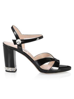 Crystal-Embellished Leather Slingback Sandals, Black
