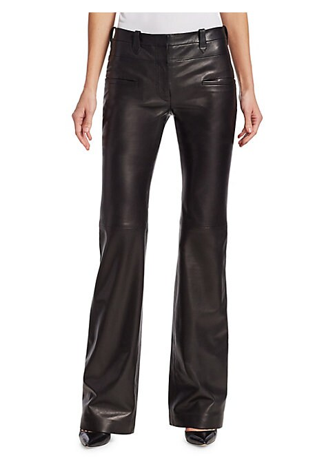 """Image of Cut from Italian leather, these flared-leg pants are cut and sewn for a flattering, contoured silhouette. Belt loops. Zip fly. Waist welt pockets. Leather. Dry clean. Made in Italy. SIZE & FIT. Rise, about 10"""".Inseam about 30"""".Model shown is 5'10"""" (177cm)"""