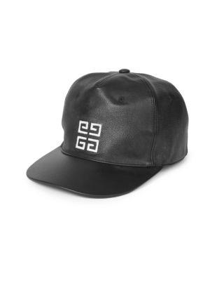 Textured Leather Baseball Cap, Black White