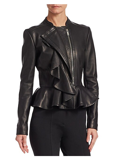 Image of Cascading ruffles add a feminine touch to this fitted leather jacket. The bold exposed zipper enhances the authentic moto aesthetic. Band collar. Long sleeves. Asymmetrical zip front. Peplum hem. Lined. Leather. Dry clean. Made in Italy. SIZE & FIT. About