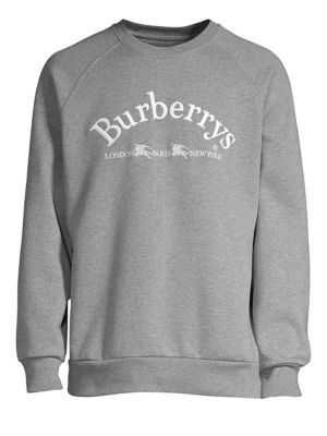 BURBERRY Men'S Battarni Embroidered-Logo Jersey Crewneck Sweatshirt, Grey