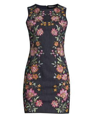 Alice+Olivia Floral Printed Pencil Dress - Multicolour, Indigo Multi