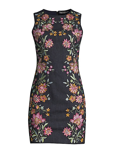 """Image of Beautifully stitched floral print details highlight this elegant sheath dress. Roundneck. Sleeveless. Back zip with hook and eye closure. About 33.5"""" from shoulder to hem. Fitted silhouette. Lined. Cotton/elastane/polyester. Dry clean. Imported. Model sho"""