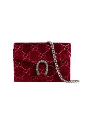 Dionysus Velvet Gg Supreme Wallet On Chain, Dark Red