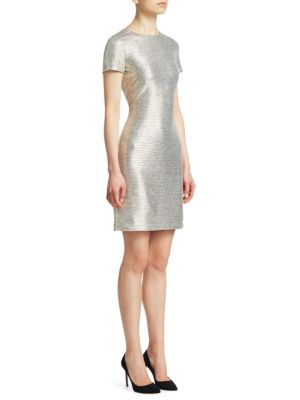 Delora Fitted Metallic Short-Sleeve Cocktail Dress in Grey