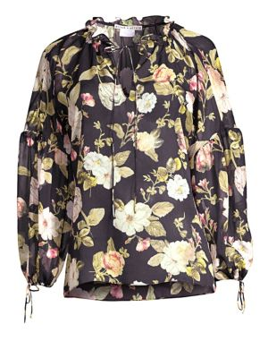 44cf822bc25bc0 Alice And Olivia Julius Floral Silk Blouson-Sleeve Tunic Top In Hazy Floral  Black