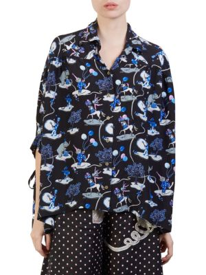 Long-Sleeve Button-Down Printed Blouse in 1207 Black